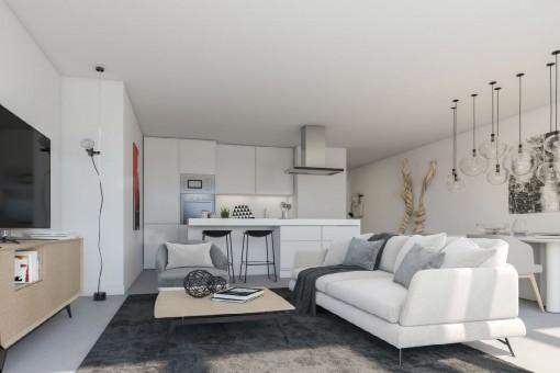 Sala de estar elegante con cocina abierta