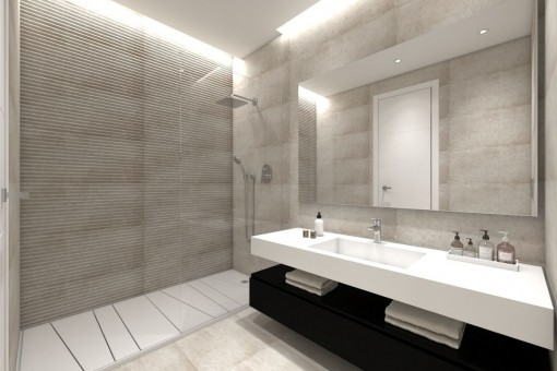 Baño moderno con ducha grande