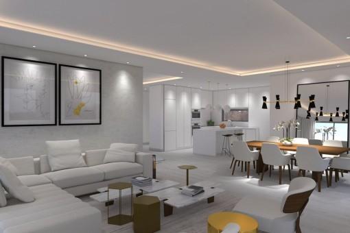 Sala de estar con cocina abierta