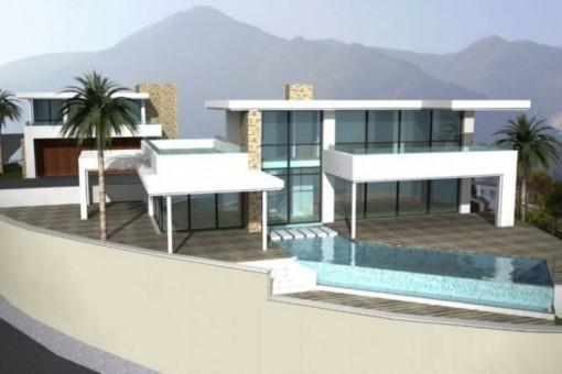 Área exterior con piscina