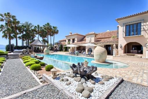 Vista idílica de la villa