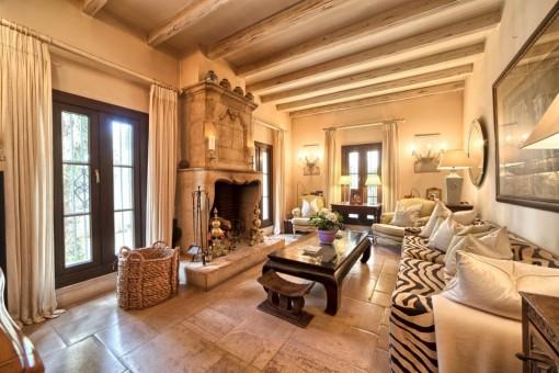 Encantadora sala de estar con chimenea