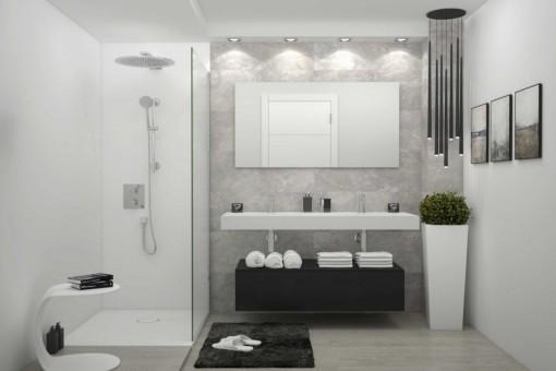 Baño moderno con ducha de lluvia
