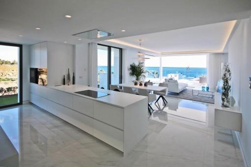 Vista desde la cocina al sala de estar abierto