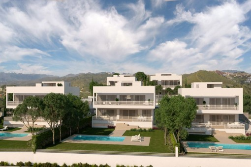 Vista frontal de las viviendas de nueva construcción