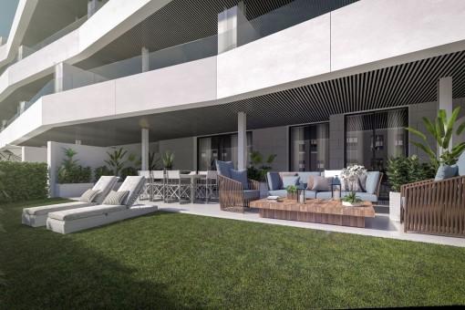 Apartamentos modernos y espasciosos de planta baja en Estepona