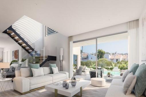 Sala de estar moderna con acceso a la terraza