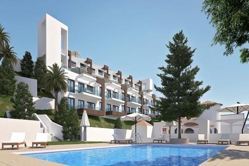 Nuevos apartamentos con piscina y jardines comunitarios cerca de la playa en Benajarafe, Málaga