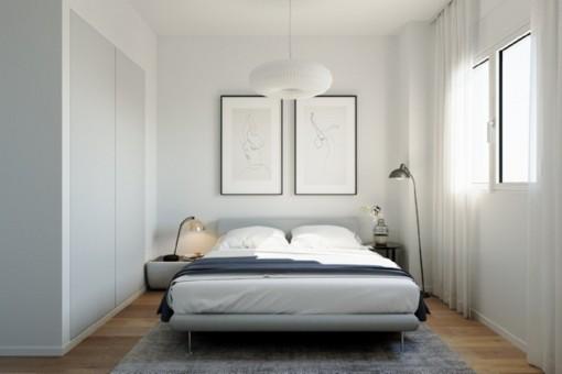 Dormitorio doble lleno de luz