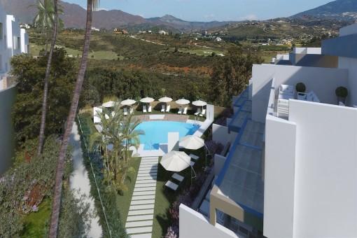 Vista de la zona de la piscina