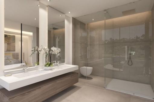 Baño con ducha a nivel del suelo