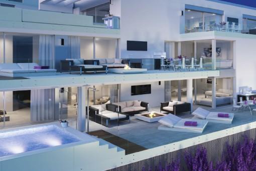 Impresionante ático con un diseño abierto, 3 dormitorios y vistas increíbles en Mijas