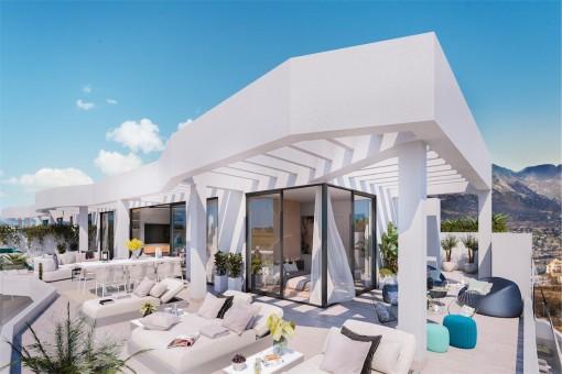Apartamento sobre plano de 2 dormitorios junto al campo de golf y muy cerca de la playa en Mijas