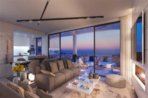 Sala de estar purista con vistas impresionantes